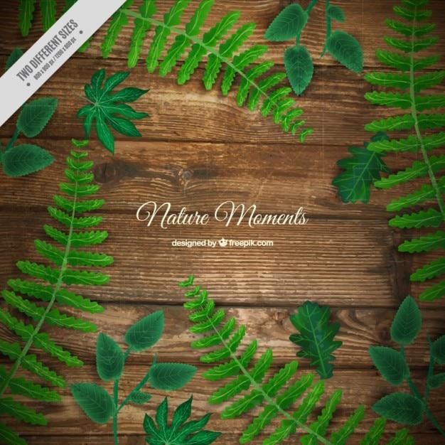 Sfondo realistico di pavimento in legno con foglie Vettore Premium