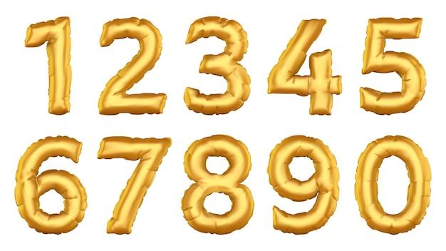 Numeri di palloncini realistici. figure di mongolfiera ad elio, celebrare la festa di compleanno, matrimonio, set di icone di illustrazione numero di palloncini stagnola. palloncino numero elio, collezione di decorazioni metalliche Vettore Premium