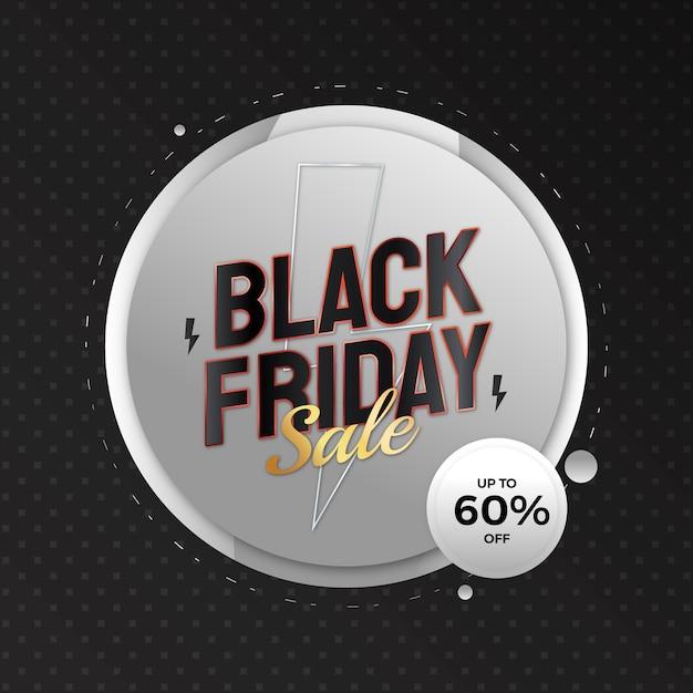 Banner di offerta speciale di vendita realistica del black friday con argento e oro colorati per la promozione sui social media Vettore Premium