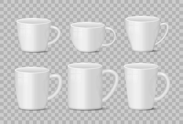Realistico bianco vuoto e nero tazza da caffè tazze su sfondo trasparente Vettore Premium