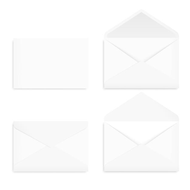 Vista frontale della busta di carta da lettera bianca vuota realistica. . Vettore Premium