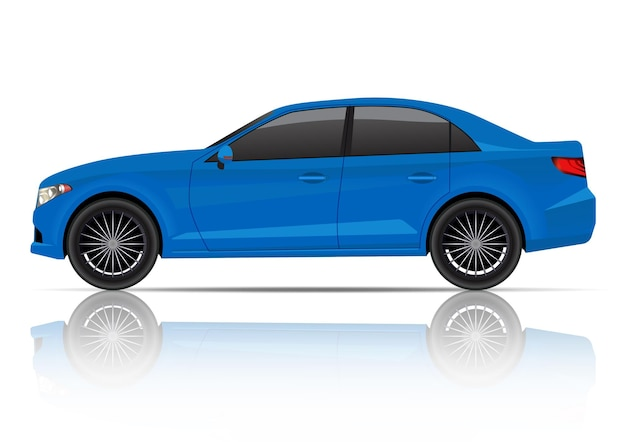 Vista laterale della berlina blu realistica. Vettore Premium