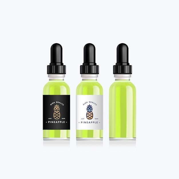 Bottiglia realistica con gusto di ananas per una sigaretta elettronica. flacone contagocce con etichette bianche o nere di design. illustrazione. Vettore Premium