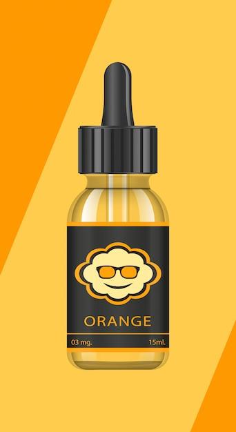 Bottiglie realistiche con gusti per una sigaretta elettronica con diversi gusti di frutta. flacone contagocce con liquido per vape. il sapore dell'arancia. Vettore Premium