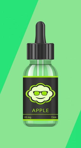 Bottiglie realistiche con gusti per una sigaretta elettronica con diversi gusti di frutta. Vettore Premium