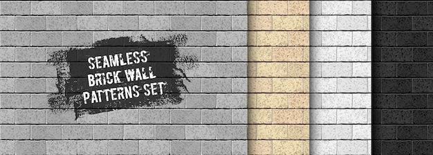 Insieme del reticolo senza giunte del muro di mattoni realistico. sabbia gialla, grigia, trama di mattoni neri Vettore Premium