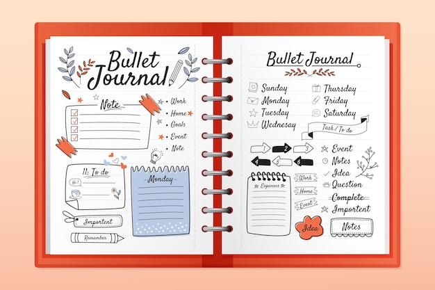 Diario dei proiettili realistico con disegni di doodle Vettore Premium
