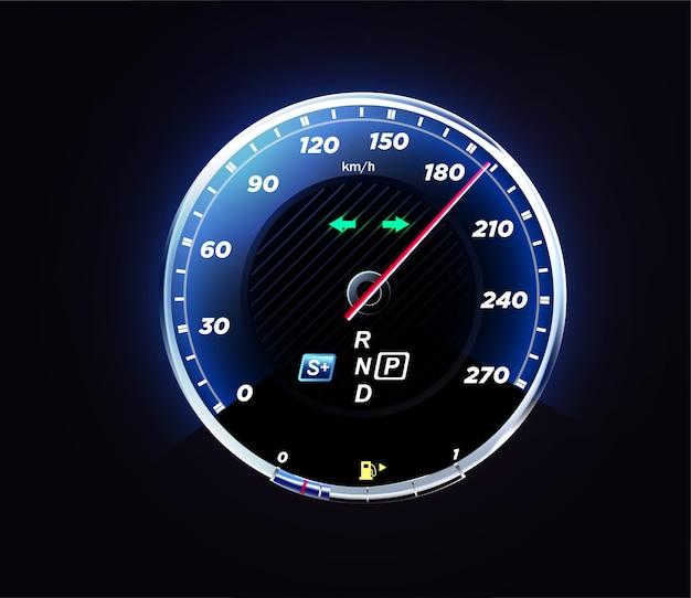 Interfaccia realistica del tachimetro dell'auto. pannello cruscotto per auto. Vettore Premium