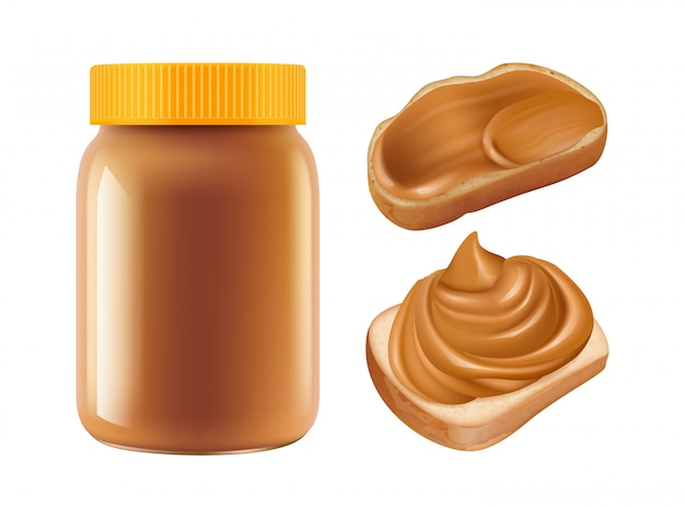 Caramello realistico barattolo di caramello e panini isolati su sfondo bianco. colazione dolce Vettore Premium