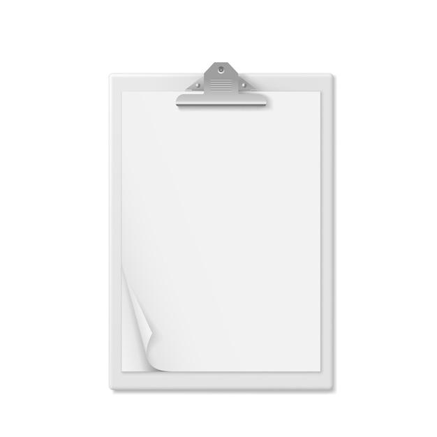 Cartella di appunti realistica con foglio di carta bianco vuoto Vettore Premium