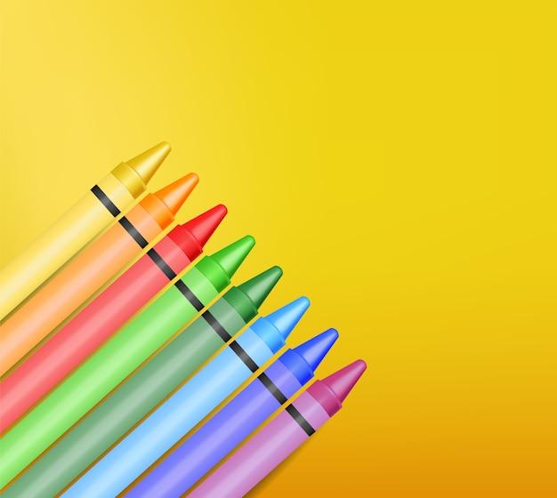 Pastelli realistici, bellissimi colori, set di pastelli, ritorno a scuola, banner scolastico, Vettore Premium