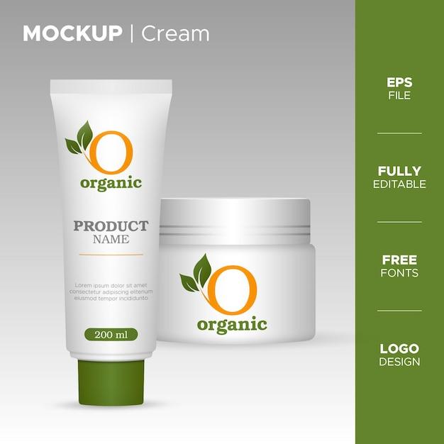 Design di packaging crema realistico con logo biologico Vettore Premium