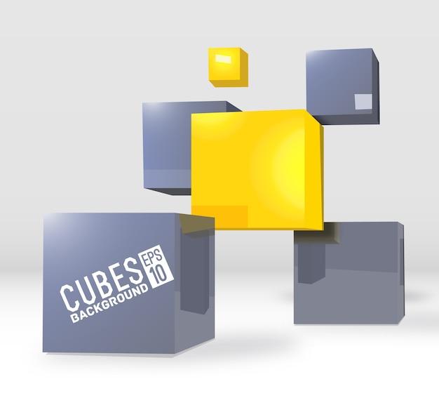 Cubi realistici concetto di sfondo Vettore Premium