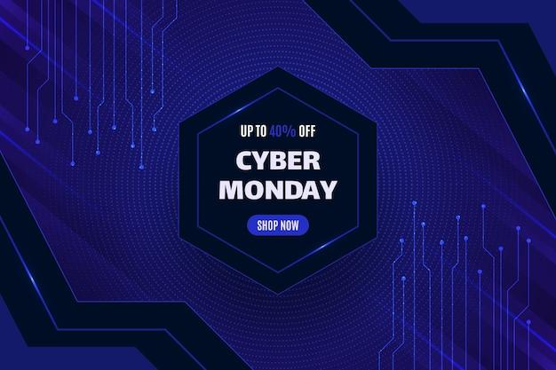 Sfondo realistico cyber lunedì in stile futuristico Vettore Premium