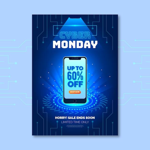 Modello realistico di volantino cyber lunedì Vettore Premium