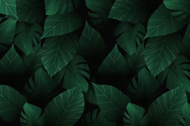Realistico sfondo scuro foglie tropicali Vettore Premium