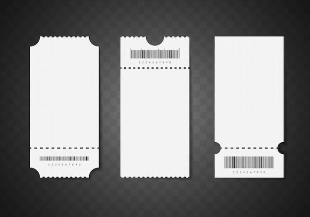 Biglietti in bianco bianchi 3d dettagliati realistici. modello vuoto mock up impostato per cinema o teatro. Vettore Premium