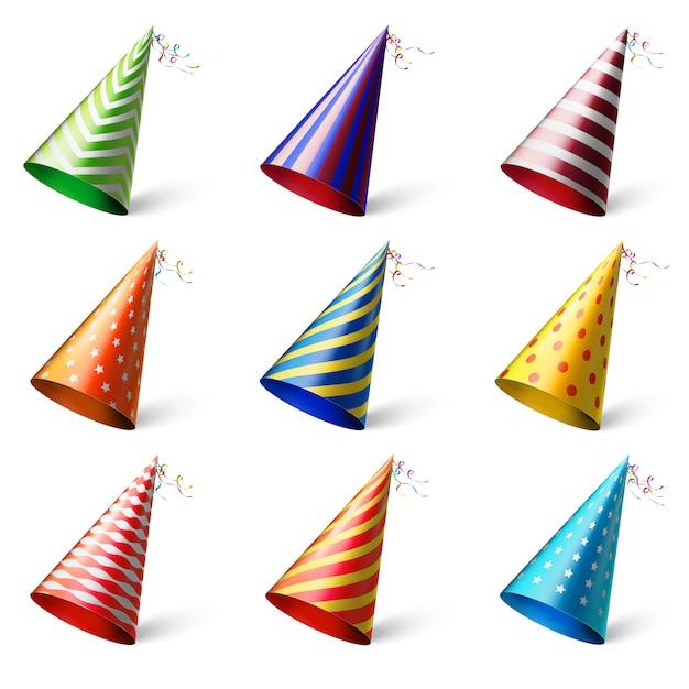 Realistici copricapi festivi diversi con vari modelli Vettore Premium