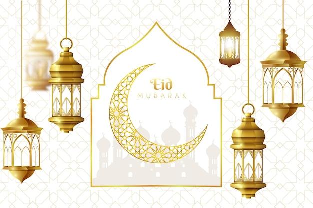 Realistico eid mubarak sfondo con luna e lanterne Vettore Premium