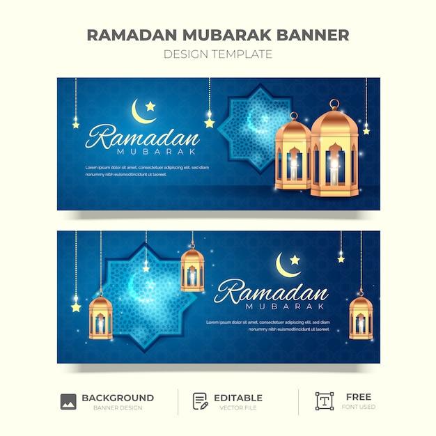 Modello realistico di banner eid mubarak Vettore Premium