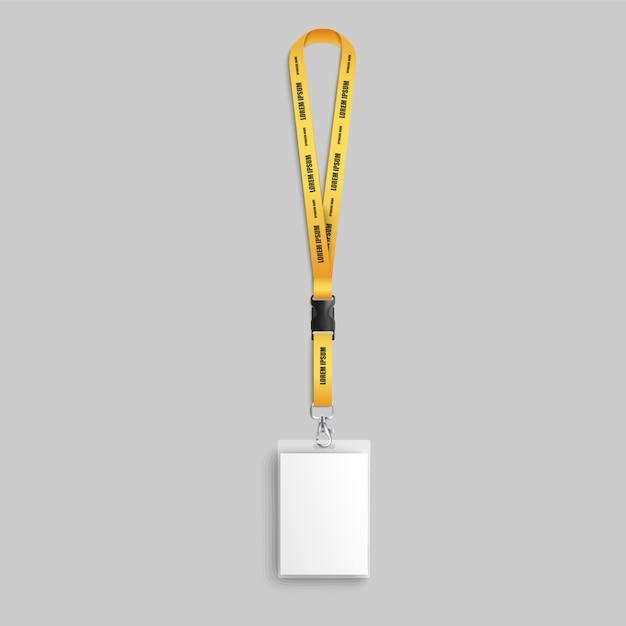 Illustrazione realistica del distintivo del cordino di identificazione dei dipendenti. Vettore Premium