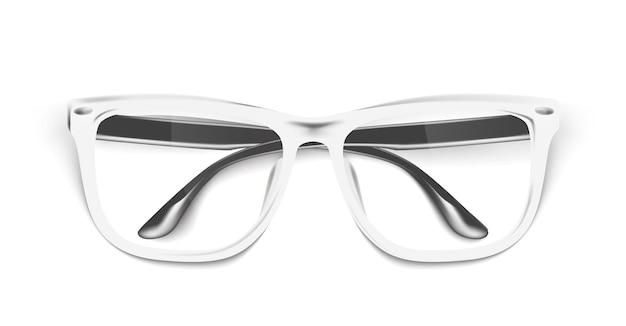 Occhiali da vista realistici, mockup di occhiali. occhiali alla moda bianchi eleganti Vettore Premium