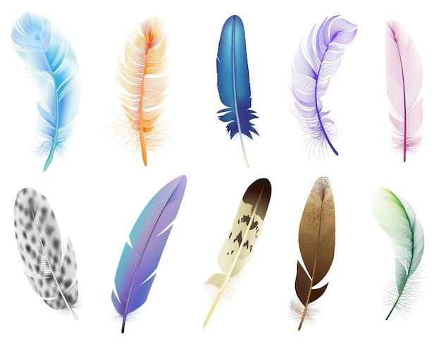 Piume realistiche. uccelli colorati che cadono soffici piume, set di icone di piume morbide piume di uccello galleggiante. soffice e piumaggio, illustrazione di caduta di piume Vettore Premium