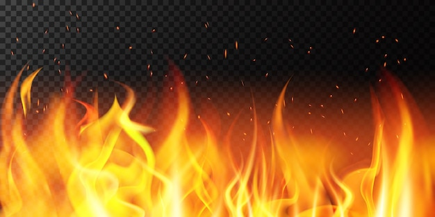 Fuoco realistico. bordo luminoso della fiamma, bandiera ardente delle scintille ardenti, illustrazione ardente rossa calda del fondo della decorazione. fuoco e infiammabile, confine falò Vettore Premium