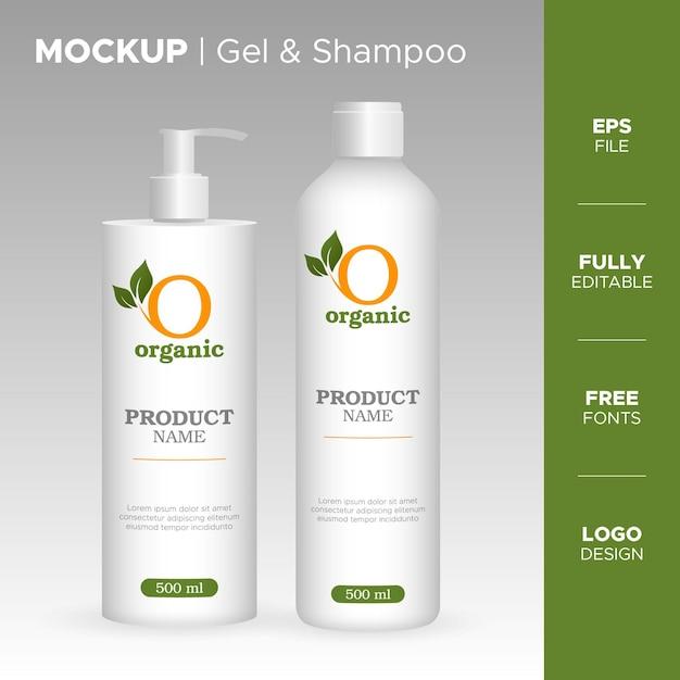 Design realistico del barattolo di gel e shampoo con logo biologico Vettore Premium