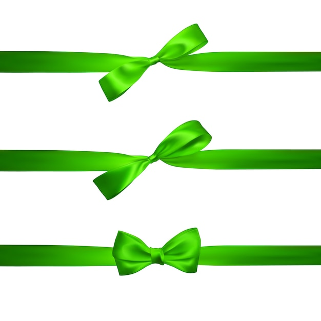Fiocco verde realistico con nastri verdi orizzontali isolati su bianco. elemento per regali di decorazione, saluti, vacanze. Vettore Premium