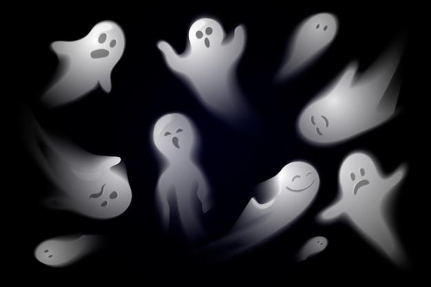 Collezione di fantasmi di halloween realistici Vettore Premium