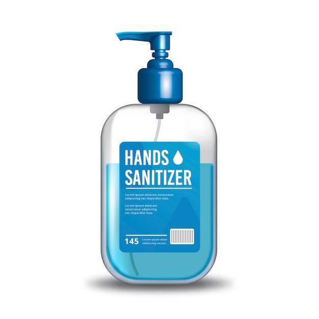 Concetto realistico di disinfettante per le mani Vettore Premium