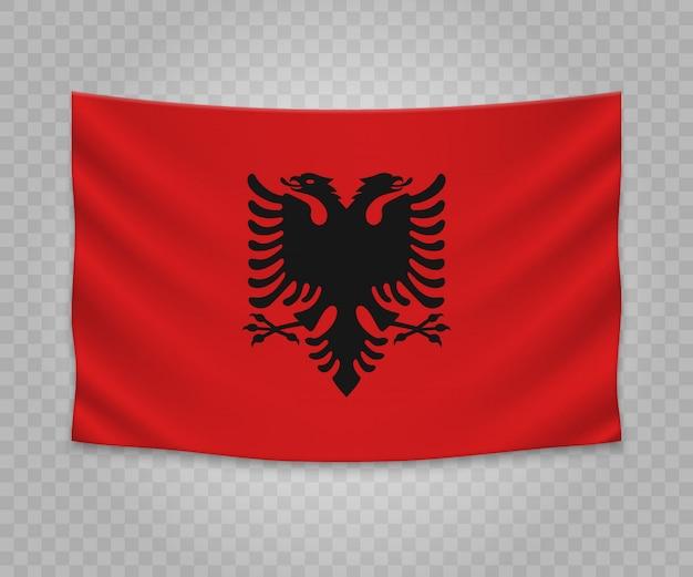Bandiera d'attaccatura realistica dell'albania Vettore Premium