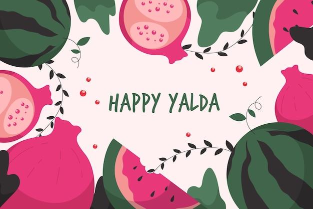 Anguria e frutta yalda felici realistiche Vettore Premium
