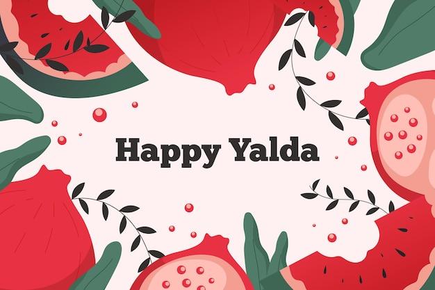 Yalda felice realistica con fette di frutta Vettore Premium