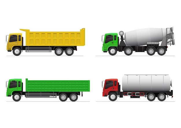 Set realistico di camion pesanti. autocarro con cassone ribaltabile, gondola, betoniera e autocisterna per sostanze chimiche. Vettore Premium