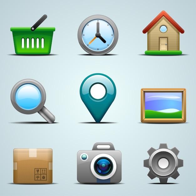 Icone realistiche per app mobili o web Vettore Premium
