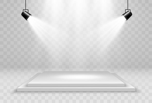 Illustrazione realistica di una piattaforma 3d su uno sfondo trasparente. un posto per stabilire qualcosa. Vettore Premium