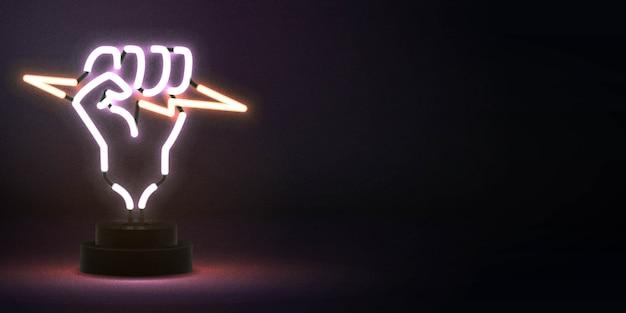 Insegna al neon isolata realistica del pugno che tiene un logo di un fulmine per la decorazione e il rivestimento del modello. Vettore Premium