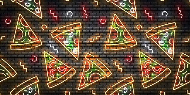 Segno al neon isolato realistico di pizza su un reticolo senza giunte della parete. Vettore Premium
