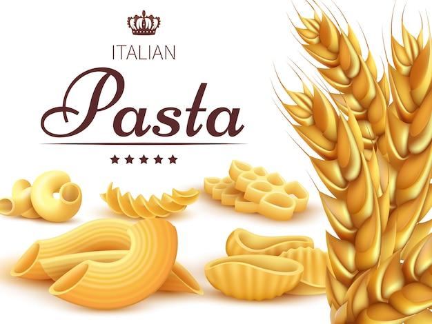 Pasta e grano italiani realistici Vettore Premium