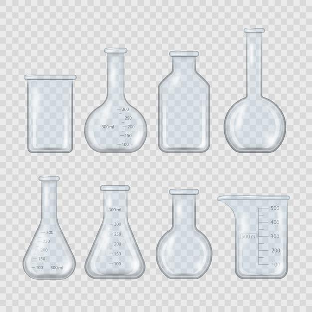 Becher da laboratorio realistico, boccetta di vetro e altri contenitori chimici, attrezzatura medica di misurazione 3d isolata su sfondo trasparente. attrezzature di laboratorio chimico vuoto in stile realistico. Vettore Premium