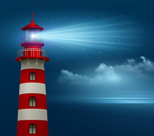 Faro realistico sullo sfondo del cielo notturno. Vettore Premium