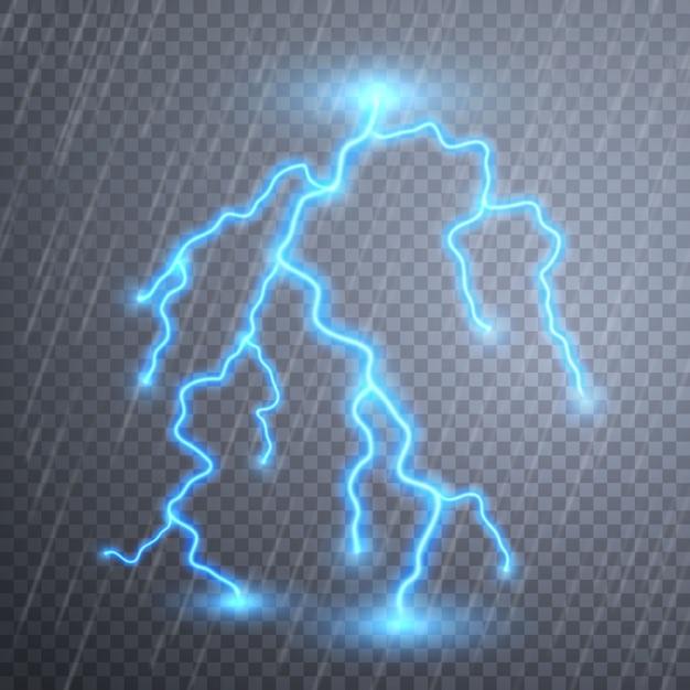 Lampi realistici con trasparenza. temporali e fulmini. effetti luminosi magici e luminosi. Vettore Premium