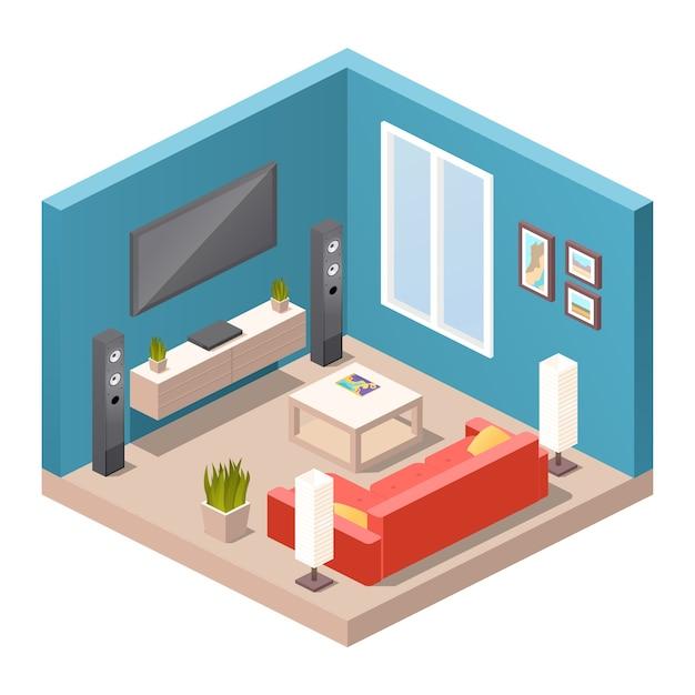 Interno del soggiorno realistico. mobili moderni, appartamento o casa concetto. vista isometrica della stanza, divano, lampade da terra, tavolino da caffè, home theater, schermo tv, piante in vaso, arredamento Vettore Premium