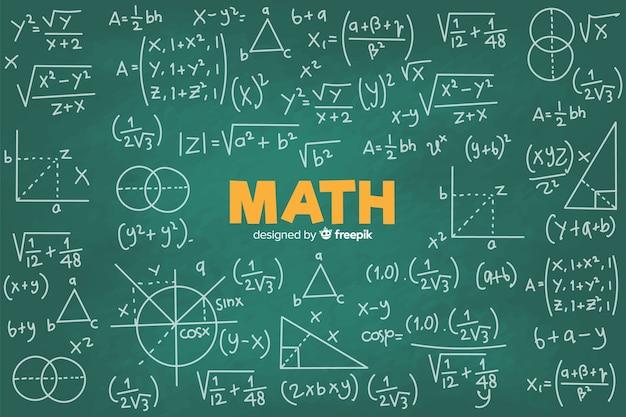 Sfondo di lavagna matematica realistica Vettore Premium