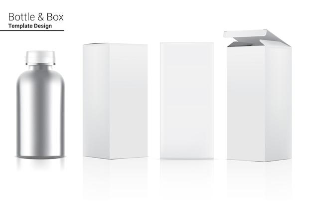 Confezione metallica di bottiglia di medicina realistica con scatola. Vettore Premium