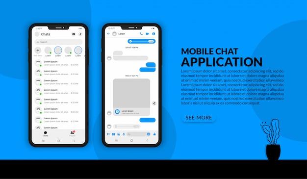 Applicazione di chat mobile realistica, modello di messaggistica kit ui per post sui social media Vettore Premium