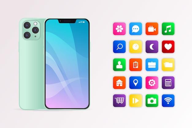 Dispositivo mobile realistico con app Vettore Premium