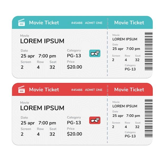 Biglietti del cinema moderno realistico isolati su sfondo bianco Vettore Premium